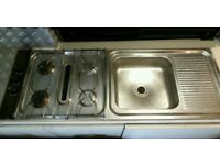 2 Burner Gas Hob + Long Frying burner with sink and drainer (Gas hose included) Campervan/Caravan