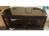 Black Glass TV Unit Stand with intergraded DVD Soundbar Unit System with Subwoofer
