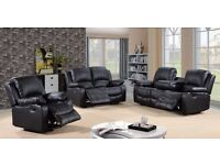 Vince Luxury Bonded Leather Recliner Sofa Set With Pull Down Drink HOlder