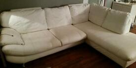 White leather corner sofa couch l shape