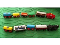 11 mixed trains & carriages brio.bargain.wooden train track.
