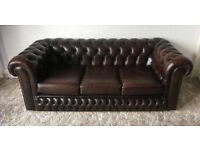 Lovely brown leather 3 seater chesterfield sofa.