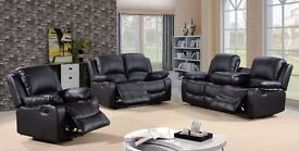 Valencyah Luxury Bonded Leather Recliner Sofa Set Plus Pull Down Drink Holder