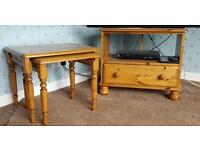Solid Pine tables and tv unit