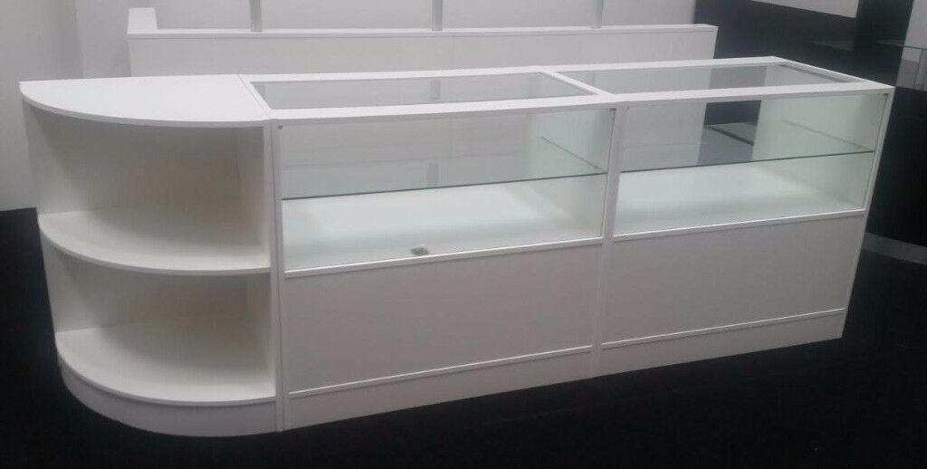 White Matt Glass Shop counter -SET of 3 Cabinets
