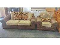 Brown fabric leather sofa