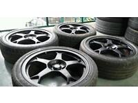 """Team dynamic 17"""" alloys + 2 tyres! 4x100 Honda Renault Vauxhall Toyota"""