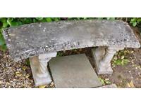 Decorative Solid Stone Garden Bench