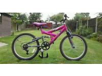 Girls full suspension mountain bike, good condition