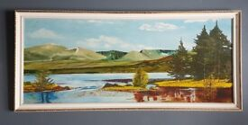 Oil on board vintage painting of a loch
