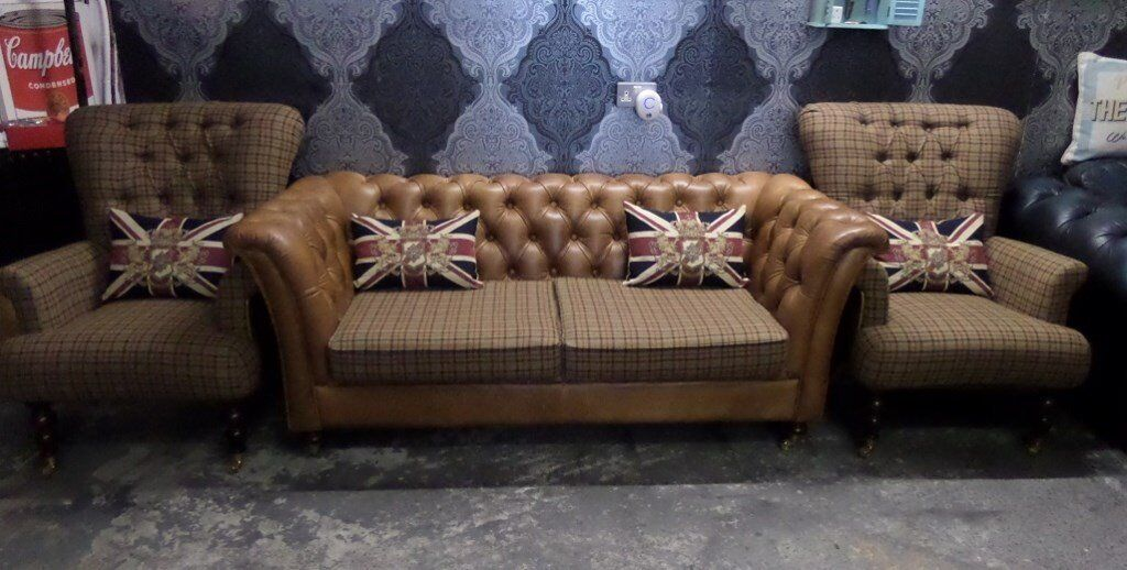 Superieur Chesterfield 3 Seater Sofa U0026 2 Wing Back Chairs Low Tan Tartan From Fenwick  Possible Delivery