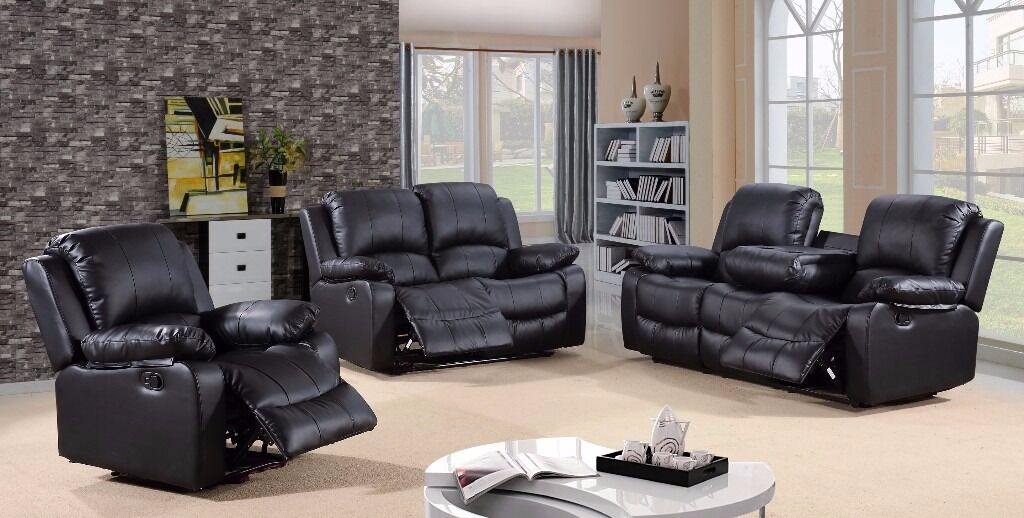 Valerie 3u00262 Bonded Leather Recliner Sofa Set With Pull Down Drink Holder  *FINANCE NOW AVAILABLE