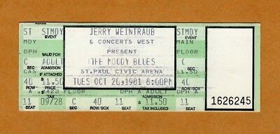 1981 Moody Blues Unused Concert Ticket St. Paul Long Distance Voyager Halloween ()