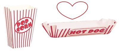 Popcorn boxes hot dog trays retro fun combo movie nights party stripes ()