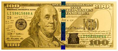 Benjamin Franklin Design $100 1 g Gold Note - Franklin Design