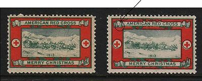 1913-2 Christmas Seals - Both Open and Closed Ribbon Varieties