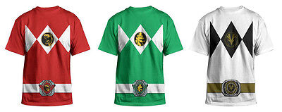 Authentic Mighty Morphin Power Rangers Costume Adult Men T-Shirt Tee](Adults Power Rangers Costume)