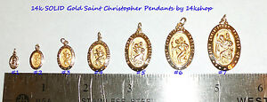 14K Solid Gold Small Die Struck  St St. Saint Christopher Pendant Charm Medal