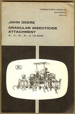 John Deere Granular Insecticide Attachment 2-12 Row Cultivatorjd Tractor Manual