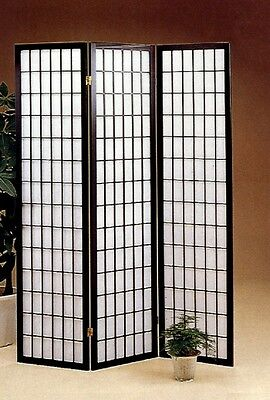 (Three Panel Black Wood Framed Screen Room Divider by Coaster 4622)
