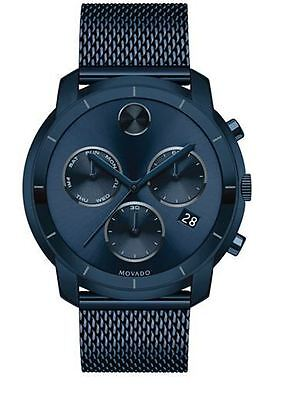 Movado Bold Swiss Chronograph Blue Ion-Plated Steel 44mm Men's Watch 3600403