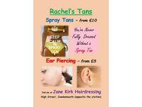 Spray Tan and Ear Piercing - Tans from £10, Piercing from £5