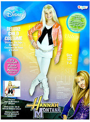 NWT DISNEY HANNAH MONTANA DELUXE COSTUME with WIG GIRLS 7-8 ()