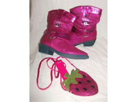 GIRLS DISNEY STORE WESTERN STYLE SPARKLY PINK BOOTS