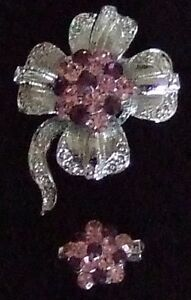 SET OF 2 FAUX AMETHYST AND PINK SAPPHIRE PINS