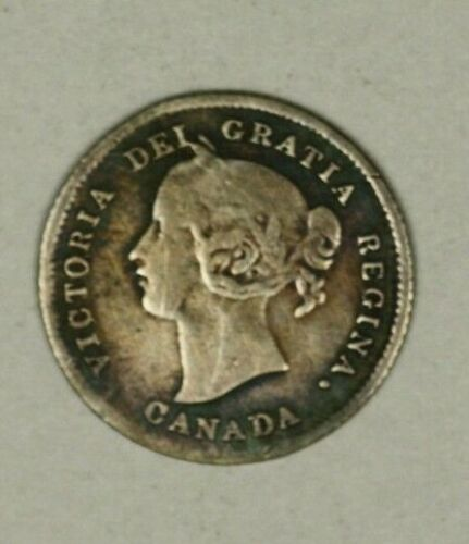 Canada Silver 5 Cents 1875-H Large Date  old cleaning hit marks  A1431