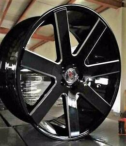 New! BLACK AND MILLED 7 spoke 22 INCH rims AND tires - mustang charger challenger RAM 1500 F150 x5 x6 range rover - 7198