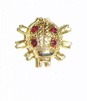 TREASURE&TRINKET-LADYBUG PIN-14K GOLD PLATE-RUBY RED STONE-LAPEL BROOCH TIE TACK