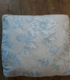 Cream with Blue Floral Curtains