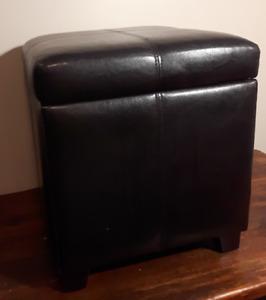 Black Leather Ottoman