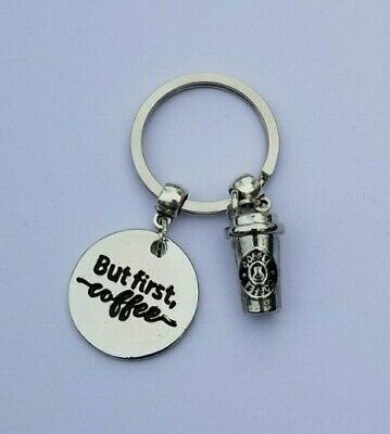 Creative Key Chain Ring Keyring Silver But First Coffee Keychain Pendant Gift  (Key Chain Rings)