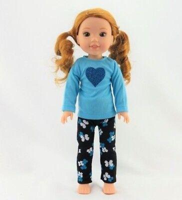 (Blue Glitter Heart Pant Set Fits Wellie Wishers 14.5