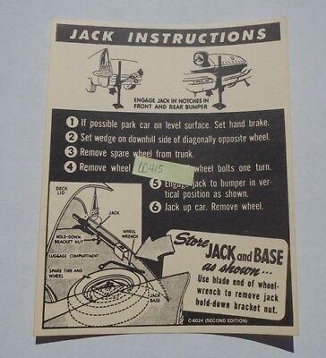 Mopar 57 Chrysler Jack Instructions NEW DD0415 C-6024 1957