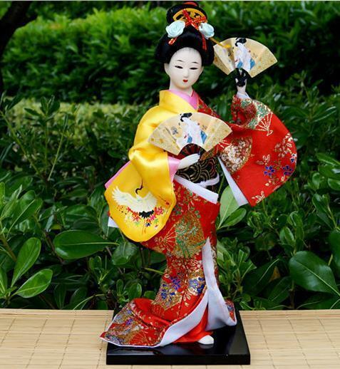30cm Japanese Brocade Kimono Kabuki Doll Geisha Figure Figurine Statue Decor 01#