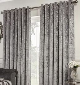 X2 pairs of silver crushed velvet curtains 229 x 229cm