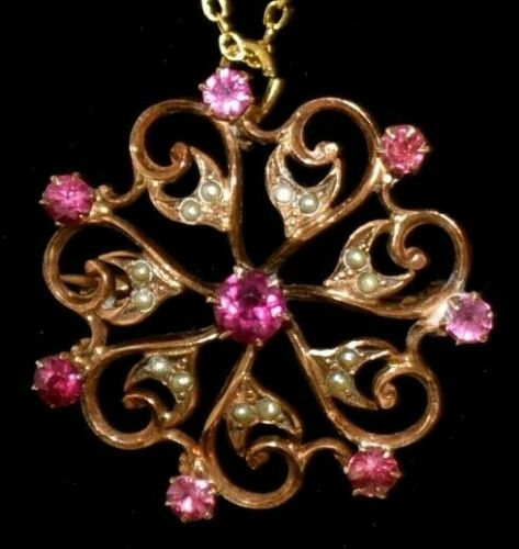 STUNNING Antique 10KT YELLOW GOLD Pink PASTE STONES Seed PEARL Pendant NECKLACE