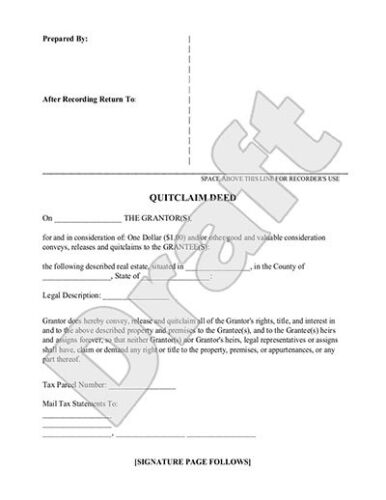 QUIT CLAIM DEED PAPERWORK - TRANSFER MINING CLAIM/MINERAL RIGHTS TO NEW CLAIMANT