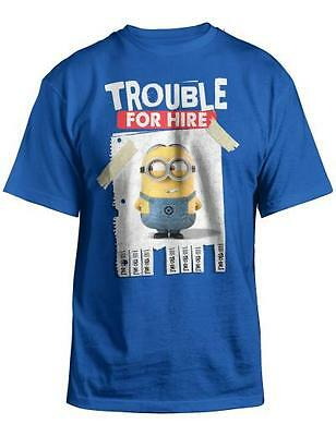 Trouble For Hire Minions Despicable Me 2 Youth Blue T Shirt New Movie Kids Tee