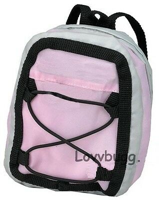 Pink Gray Backpack for Any American Girl Doll Accessory & Bitty School Supplies