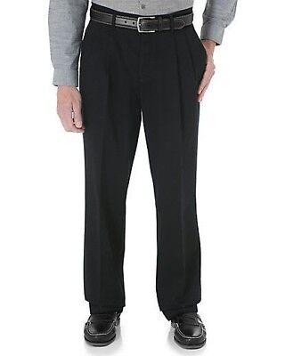 - Wrangler Ultimate Khaki Pants for Men, Pleated, Black, Classic Fit,