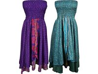 Boho Chic Designs Ladies Vintage Silk Skirt Dress Strapless Printed Two Layer, Dress
