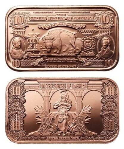 1 oz Copper Bar - $10 Bison Note