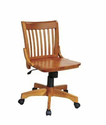 Deluxe Wood Bankers Armless Desk Chair With Wood Seat Fruit Wood