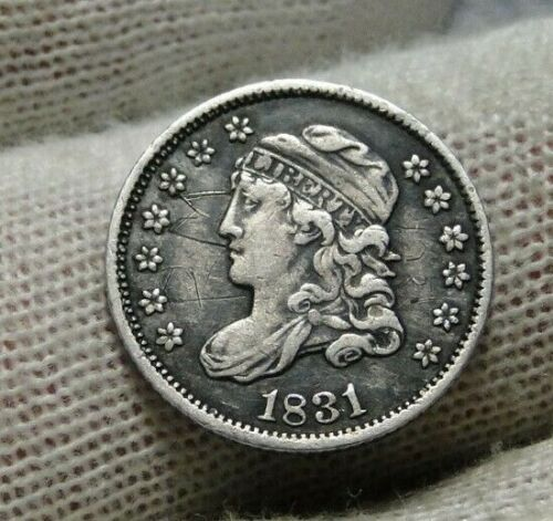 1831 Capped Bust Half Dime H10C 5 Cents - Nice Old Coin, Free Shipping  (9398)