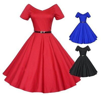 Hepburn 50er Jahre Tanzkleid Kleid Vintage Petticoat Rockabilly mit Gürtel BC358