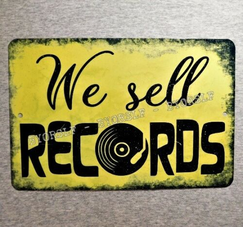 Metal Sign We Sell RECORDS vinyl albums record store day shop music cds retail